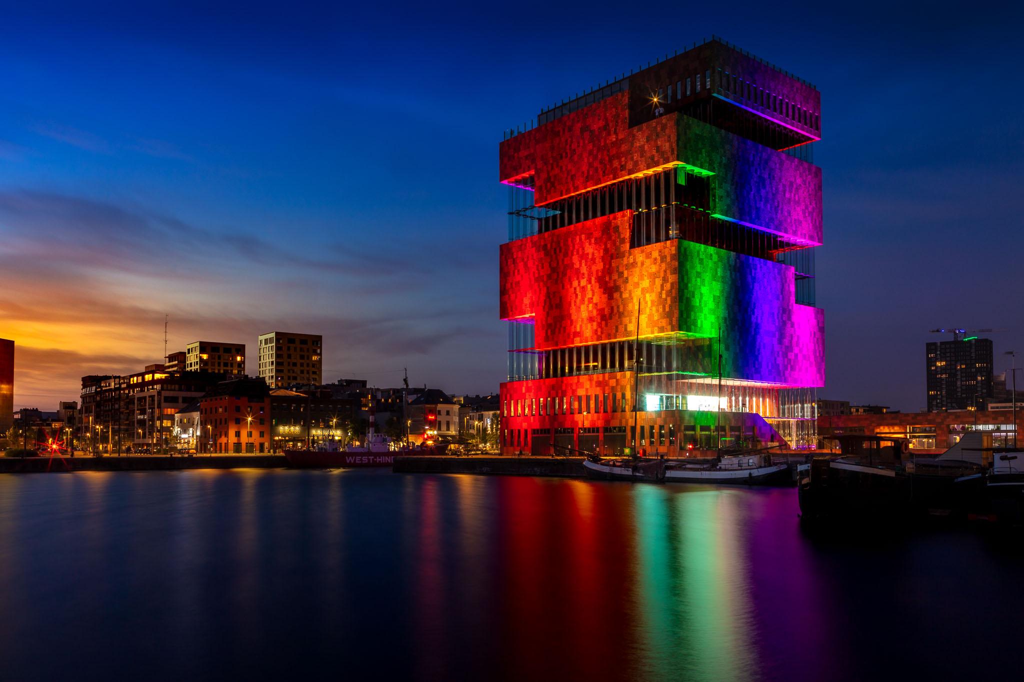 Antwerp MAS Museum in Rainbow Colors
