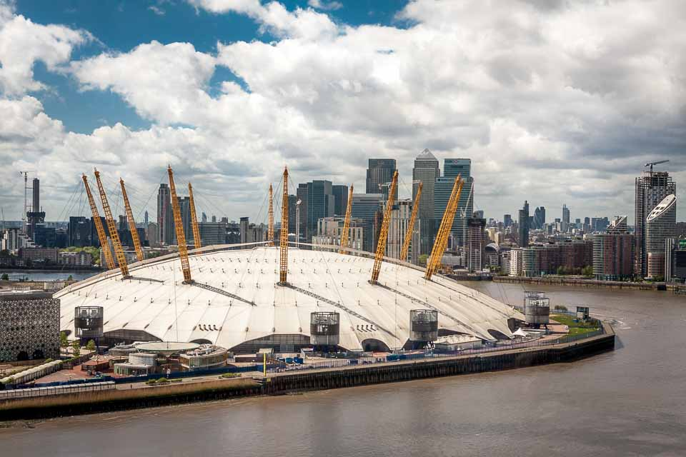 O2 Arena from the Sky