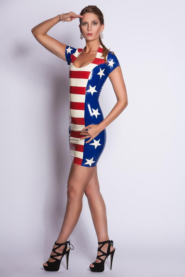 Magalie in a USA Latex Dress