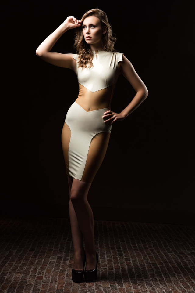 Jessy Wearing a Partly Transparent Latex Dress