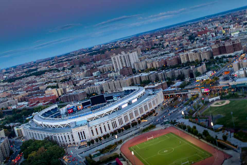Yankee Stadium from aboard a FlyNYON aircraft