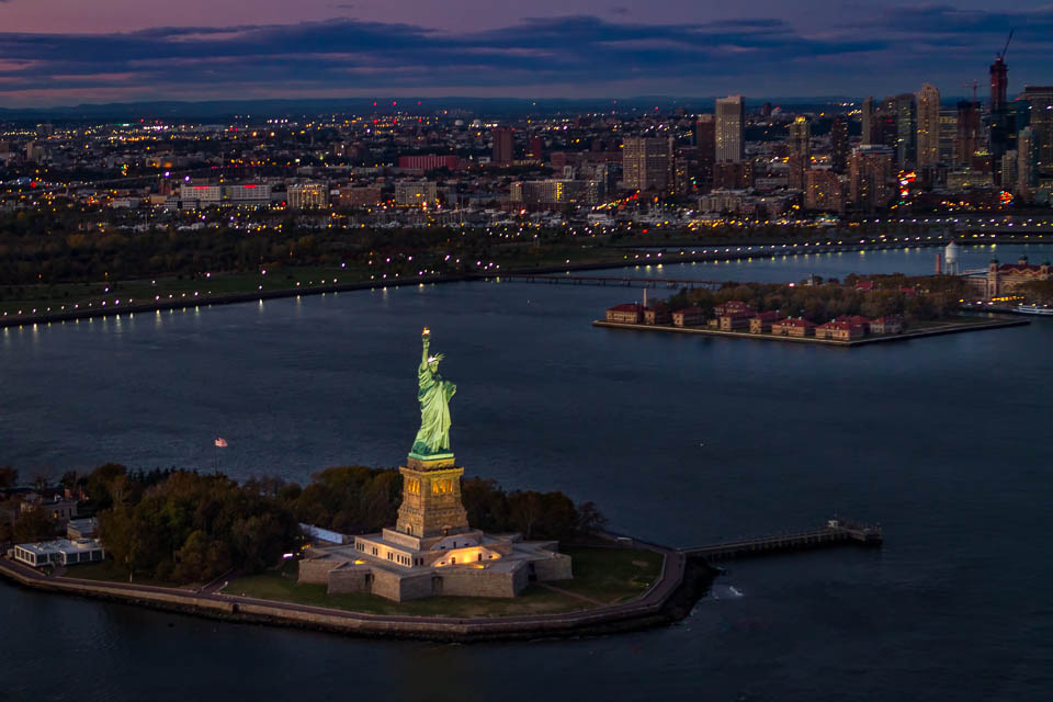Statue of Liberty and Ellis Island with FlyNYON