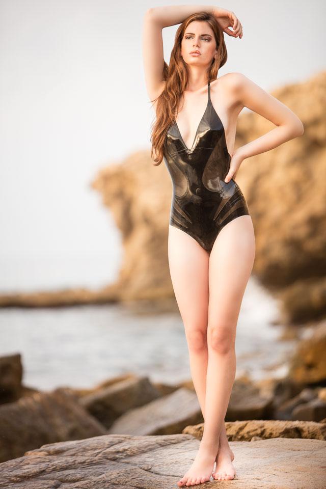 Marie Wearing a Latex Bathing Suit by William Wilde in Spain