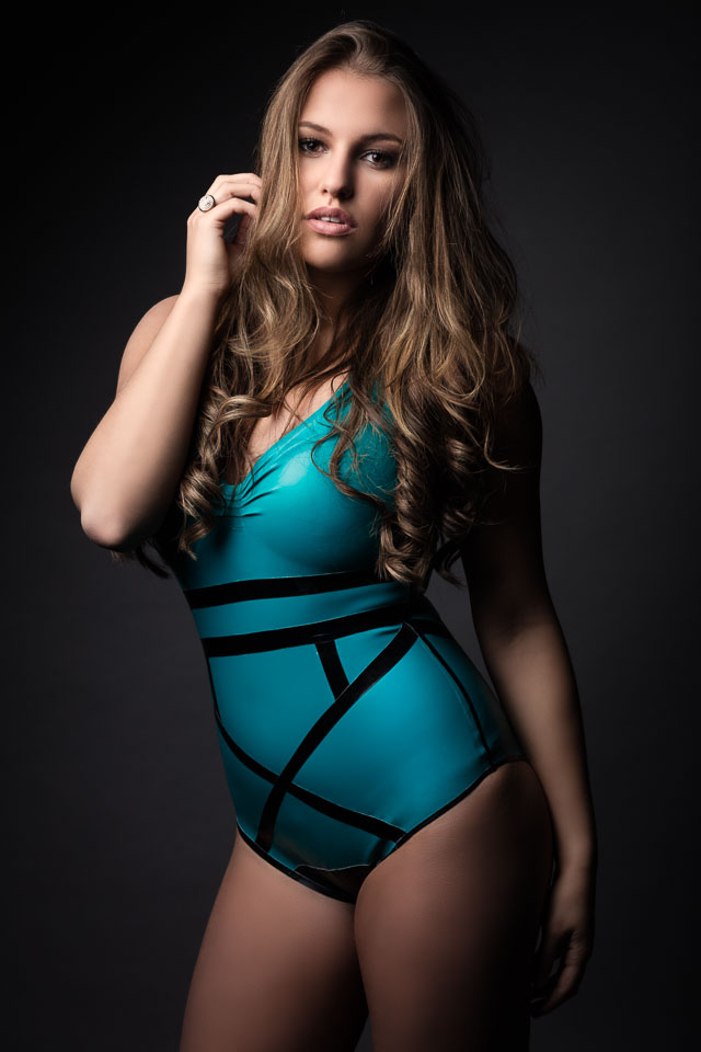 Ines Wears a Latex Swimsuit by Westward Bound in Miss Fashion Blue