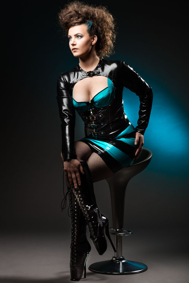 Eva in Westward Bound Latex and Ballet Heels by Kassiopeya