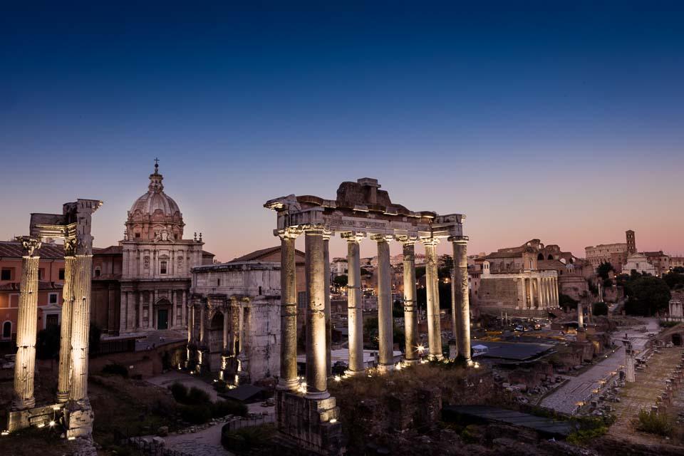 Forum Romanum in Rome, Italy at Sunset