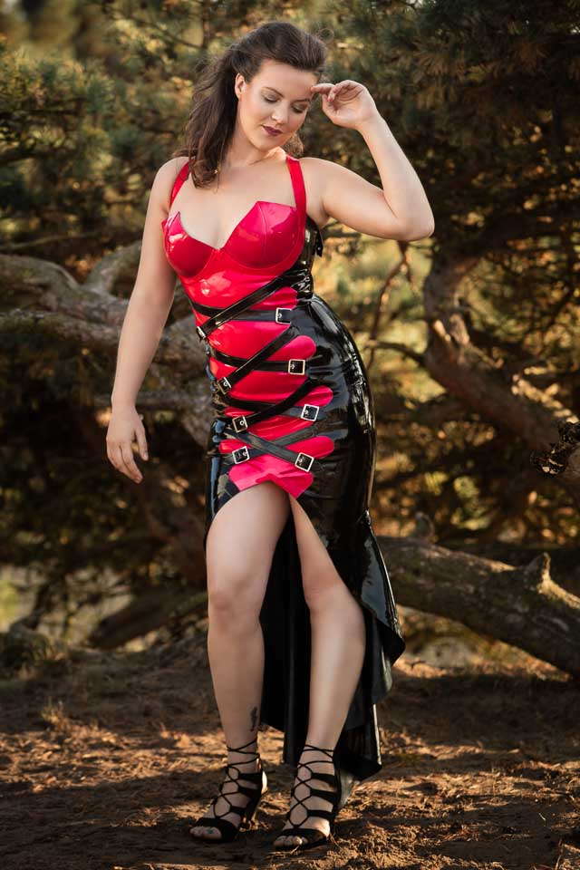 Eva in a Unique Latex Gown by Inner Sanctum in the Lommelse Sahara