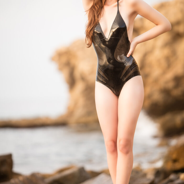 Marie Wearing a Latex Bathing Suit by William WIlde in Spain