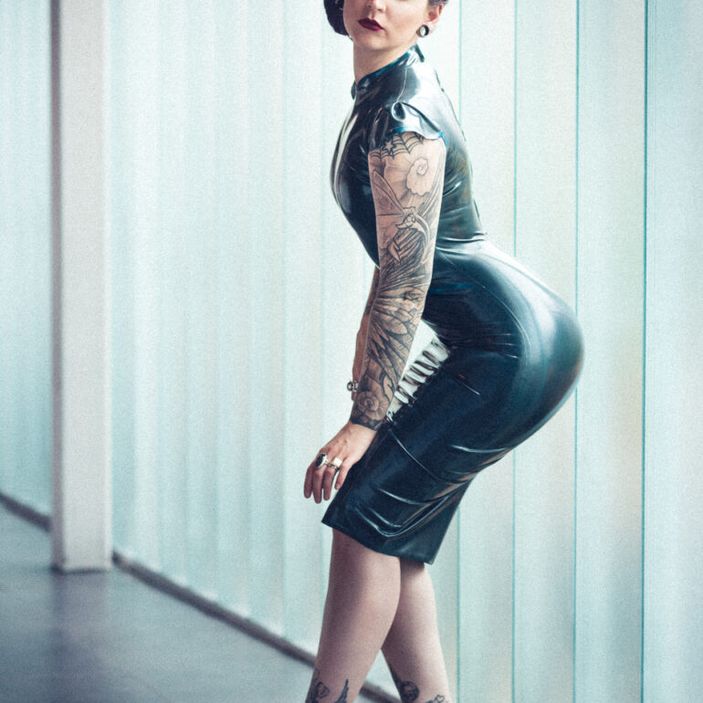 Tattoos and a Dress by HMS Latex with DeezeBeeze
