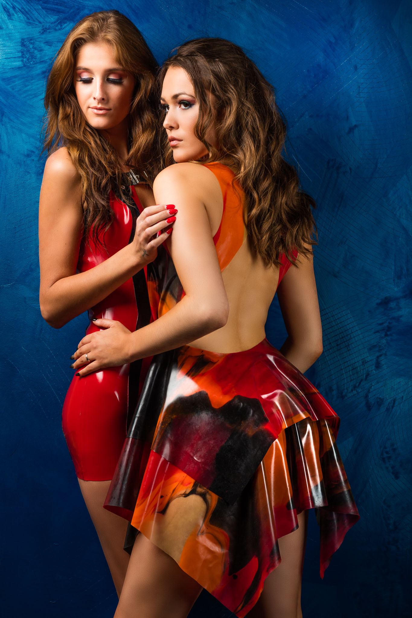 Shannety & Kyara in Matching Latex Dresses
