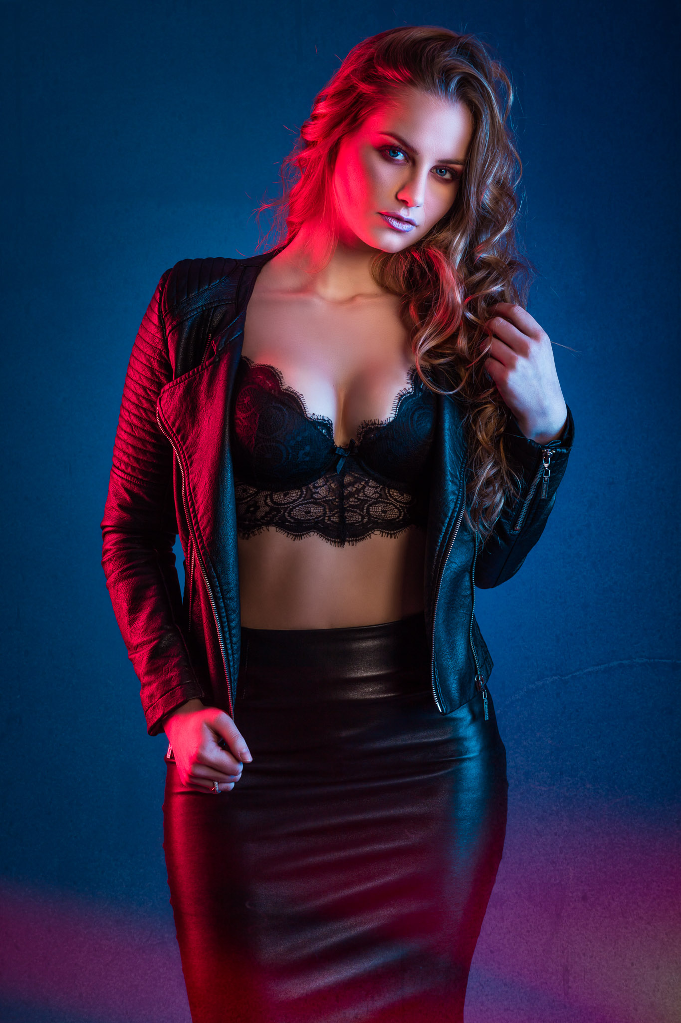 Romi in leather and lingerie