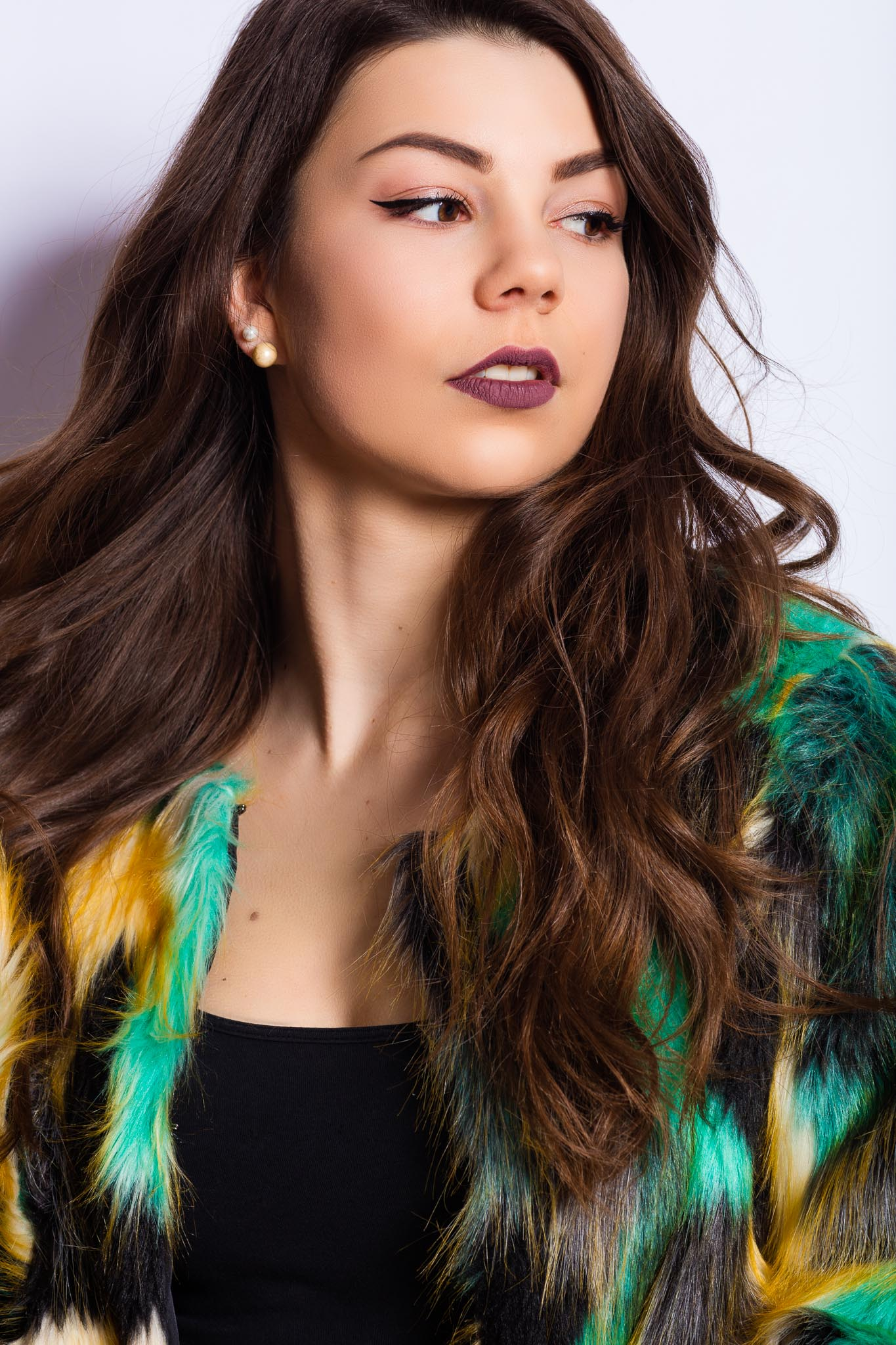 Multi Colored Faux-Fur for Model Axelle