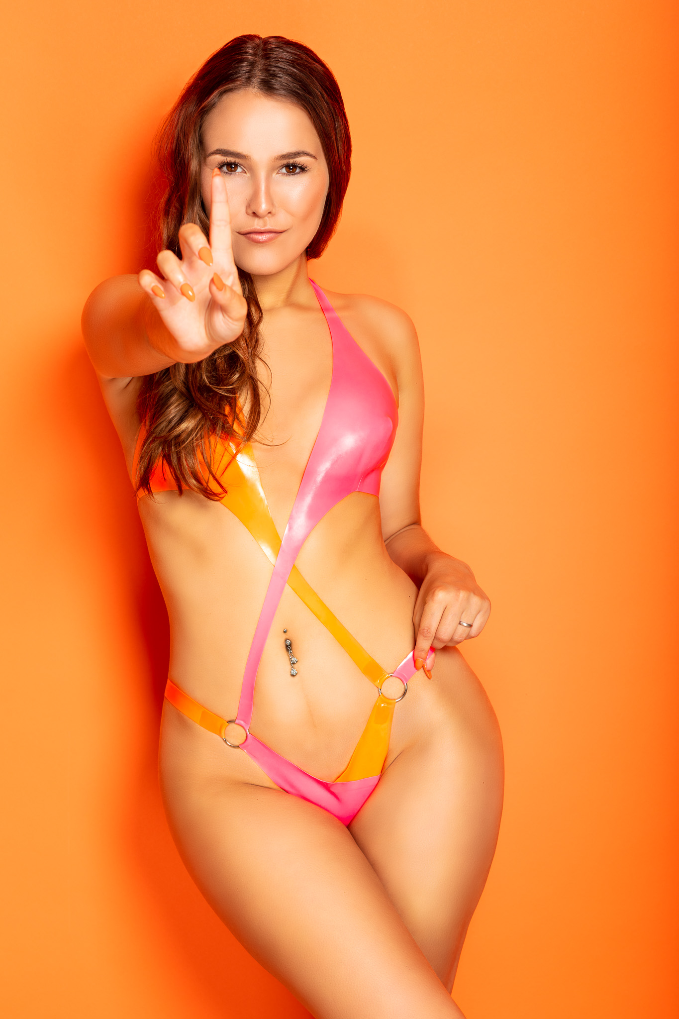 Model Shannety in Latex Swimwear by William Wilde