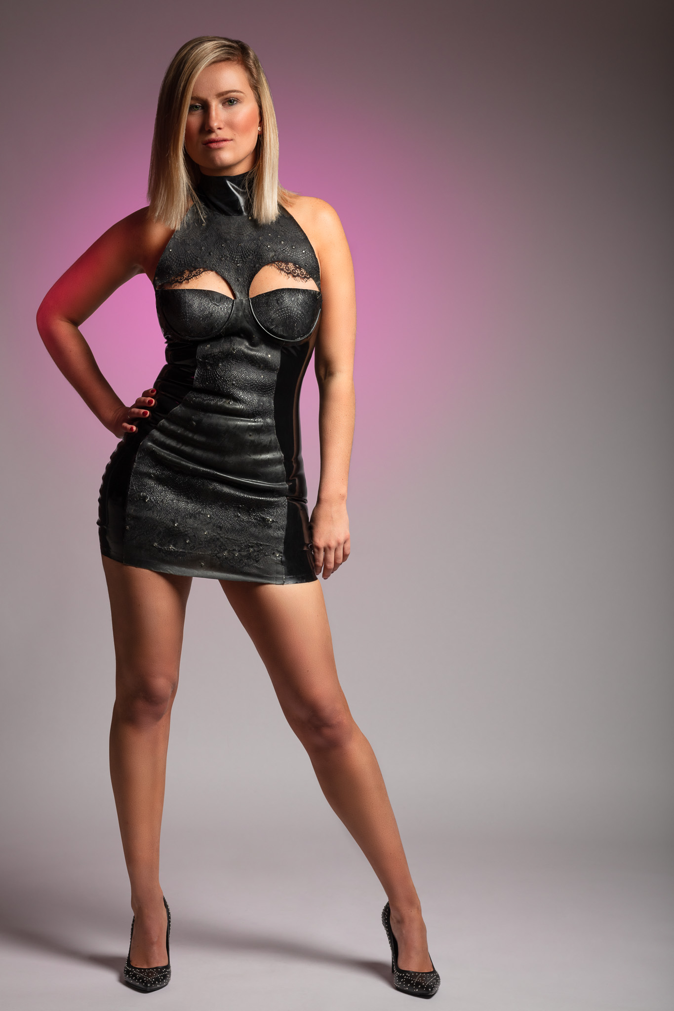 Delphine Wearing a Little Black Dress in Latex by Eustratia