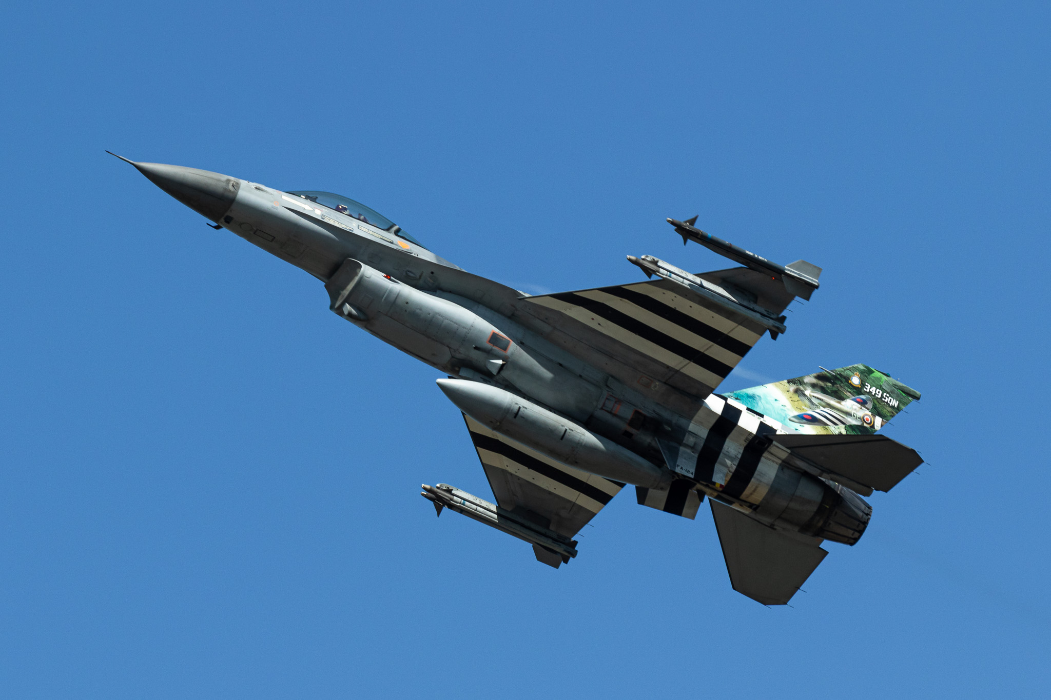 F-16 of the BAF 349 SQN in Liberation Stripes