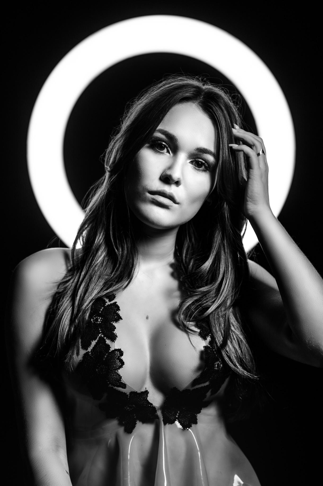 Model Shannety Posing as an Angel in Latex