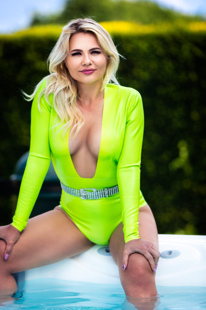 Daria in Lime Green Latex by the Pool