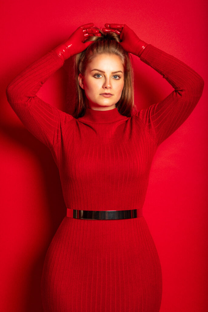 Model Romi is my Lady in Red with Latex Gloves